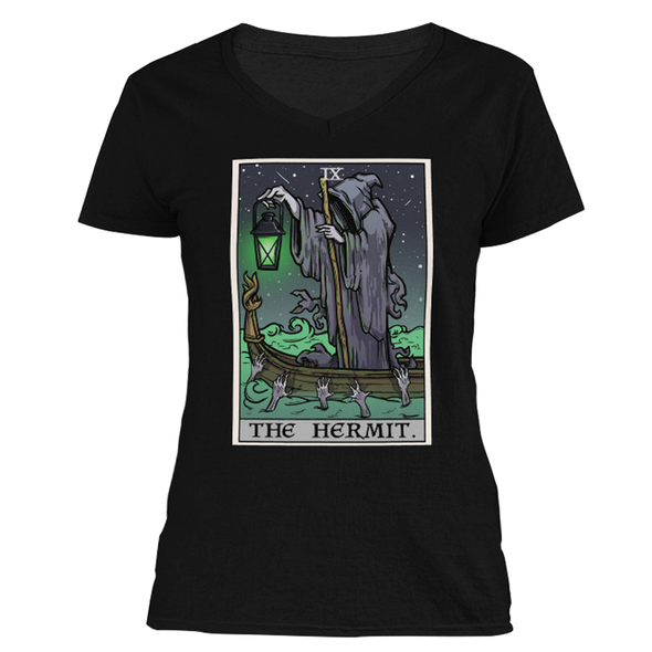 The Ghoulish Garb S The Hermit Tarot Card - Ghoulish Edition Women's V-Neck