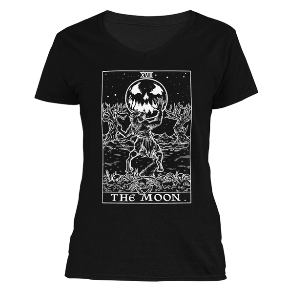 The Ghoulish Garb S The Moon Monotone Tarot Card - Ghoulish Edition Women's V-Neck