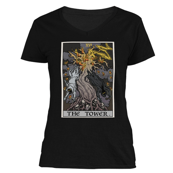 The Ghoulish Garb S The Tower Tarot Card - Ghoulish Edition Women's V-Neck