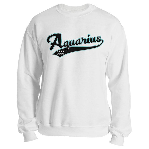 The Ghoulish Garb Sweatshirt White / S Aquarius - Baseball Style Unisex Sweatshirt