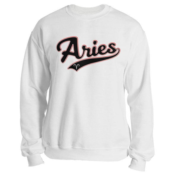 The Ghoulish Garb Sweatshirt White / S Aries - Baseball Style Unisex Sweatshirt