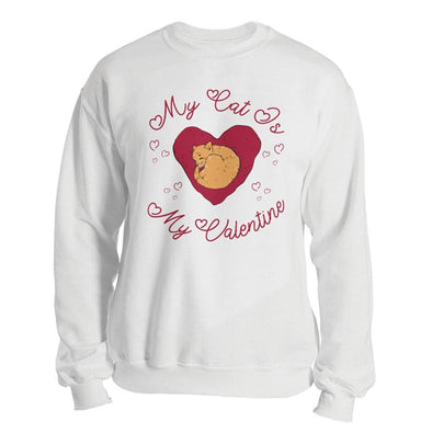 The Ghoulish Garb Sweatshirt White / S My Cat Is My Valentine Unisex Sweatshirt
