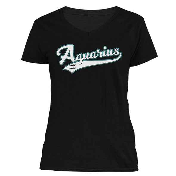 The Ghoulish Garb V-Necks Black / S Aquarius - Baseball Style Women's V-Neck