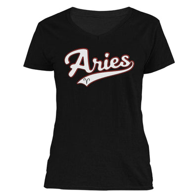 The Ghoulish Garb V-Necks Black / S Aries - Baseball Style Women's V-Neck