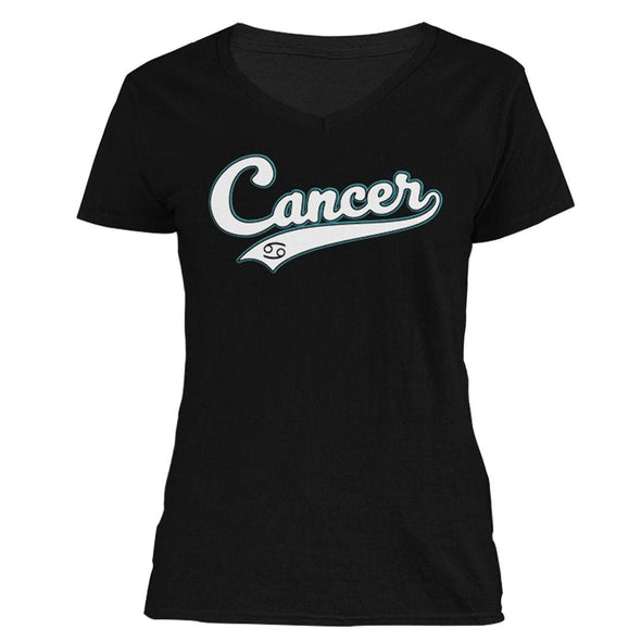 The Ghoulish Garb V-Necks Black / S Cancer - Baseball Style Women's V-Neck
