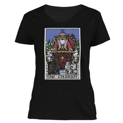 The Ghoulish Garb V-Necks Black / S The Chariot Tarot Card - Christmas Edition Women's V-Neck