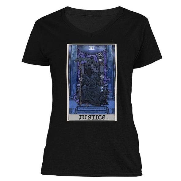 The Ghoulish Garb V-Necks S Justice Tarot Card - Ghoulish Edition Women's V-Neck