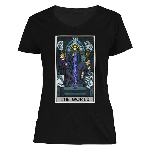 The Ghoulish Garb V-Necks S The World Tarot Card - Ghoulish Edition Women's V-Neck