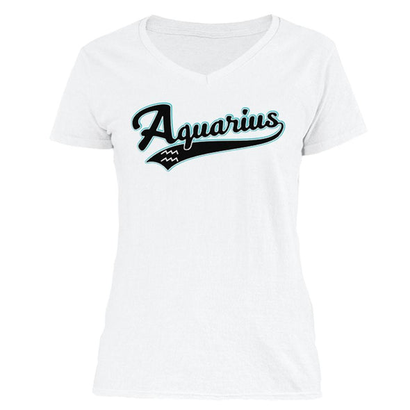 The Ghoulish Garb V-Necks White / S Aquarius - Baseball Style Women's V-Neck