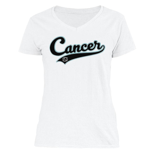The Ghoulish Garb V-Necks White / S Cancer - Baseball Style Women's V-Neck