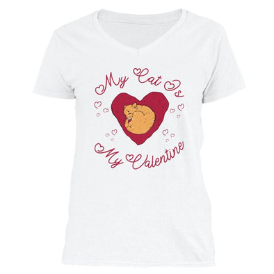 The Ghoulish Garb V-Necks White / S My Cat Is My Valentine Women's V-Neck