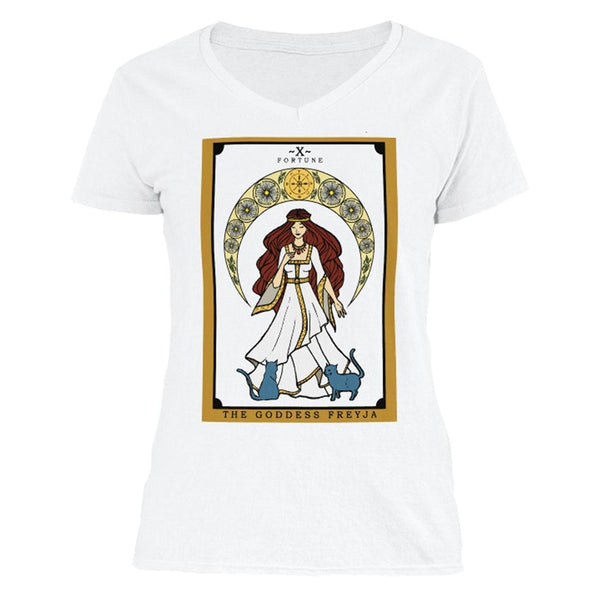 The Ghoulish Garb V-Necks White / S The Goddess Freyja Tarot Women's V-Neck Shirt