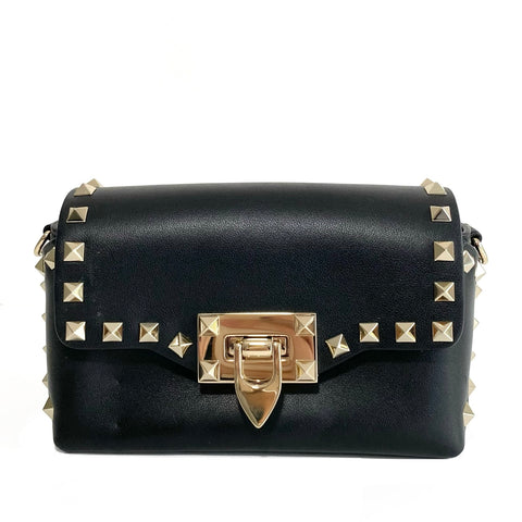 Calfskin Leather Rockstud Mini Crossbody
