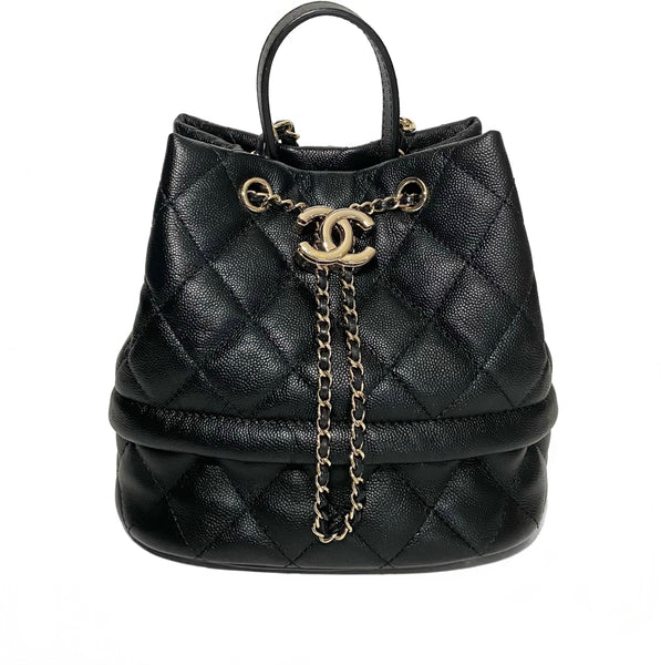 Caviar Quilted Drawstring Bucket Bag