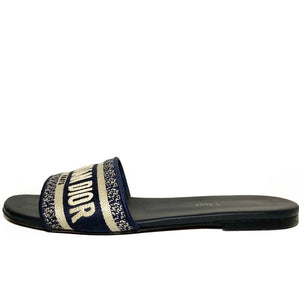 Dway Embroidered Cotton Slides 38