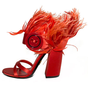 Feather Embellished Satin Sandals 36.5