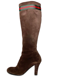 Suede Stripe Knee High Boots 37.5