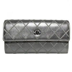 Metallic Lambskin Quilted Wallet