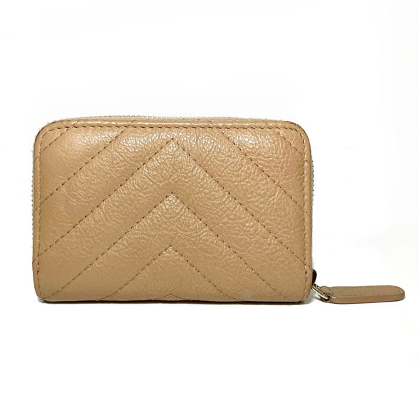 Chevron Quilted CC Zip Coin Pouch