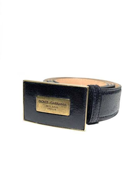 Gold Buckle Leather Belt