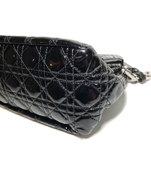 Patent Leather Cannage Lock Flap Bag