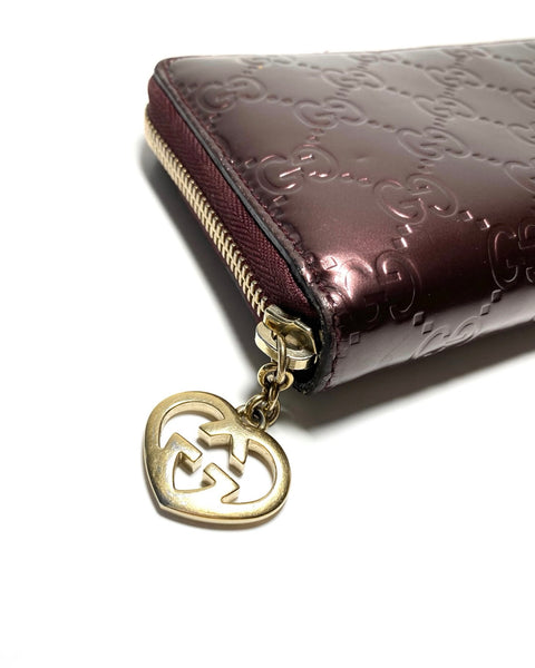 Patent Leather Monogram Zip Wallet