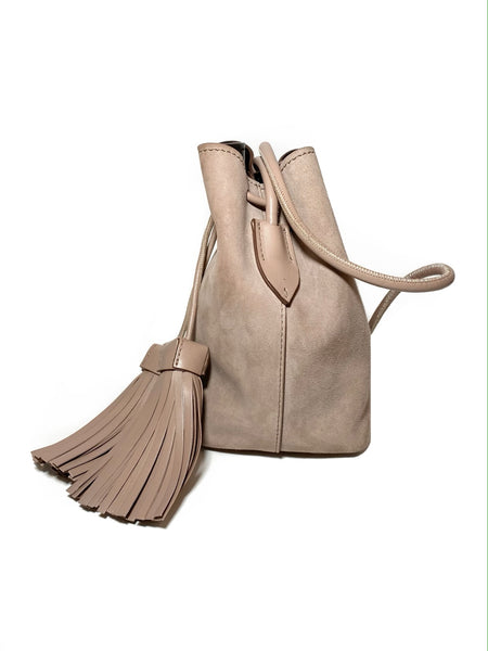 Suede Double Tassel Medium Bucket Bag
