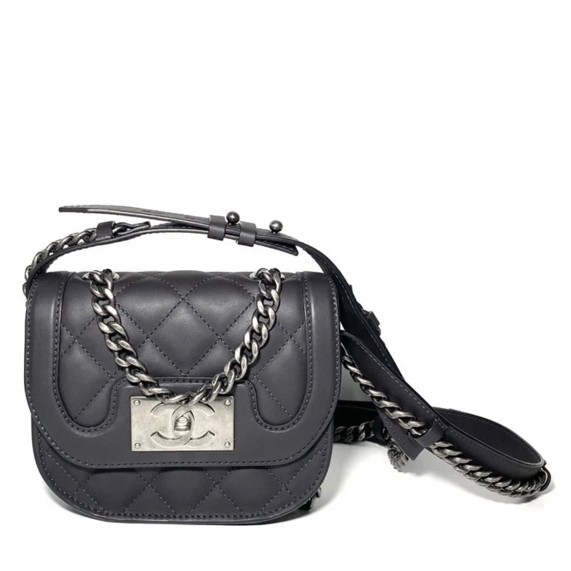 Smooth Leather Chain Crossbody