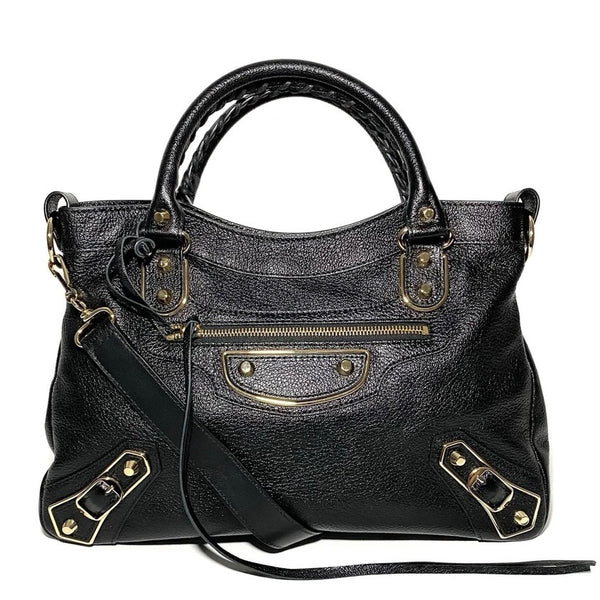 Grained Leather Classic City Small Shoulder Bag