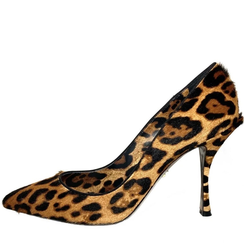 Leopard-print pony hair pumps 40