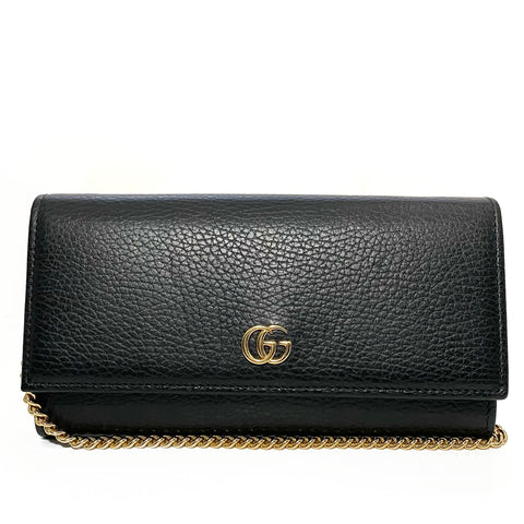 Grained Leather GG Marmont Wallet On Chain