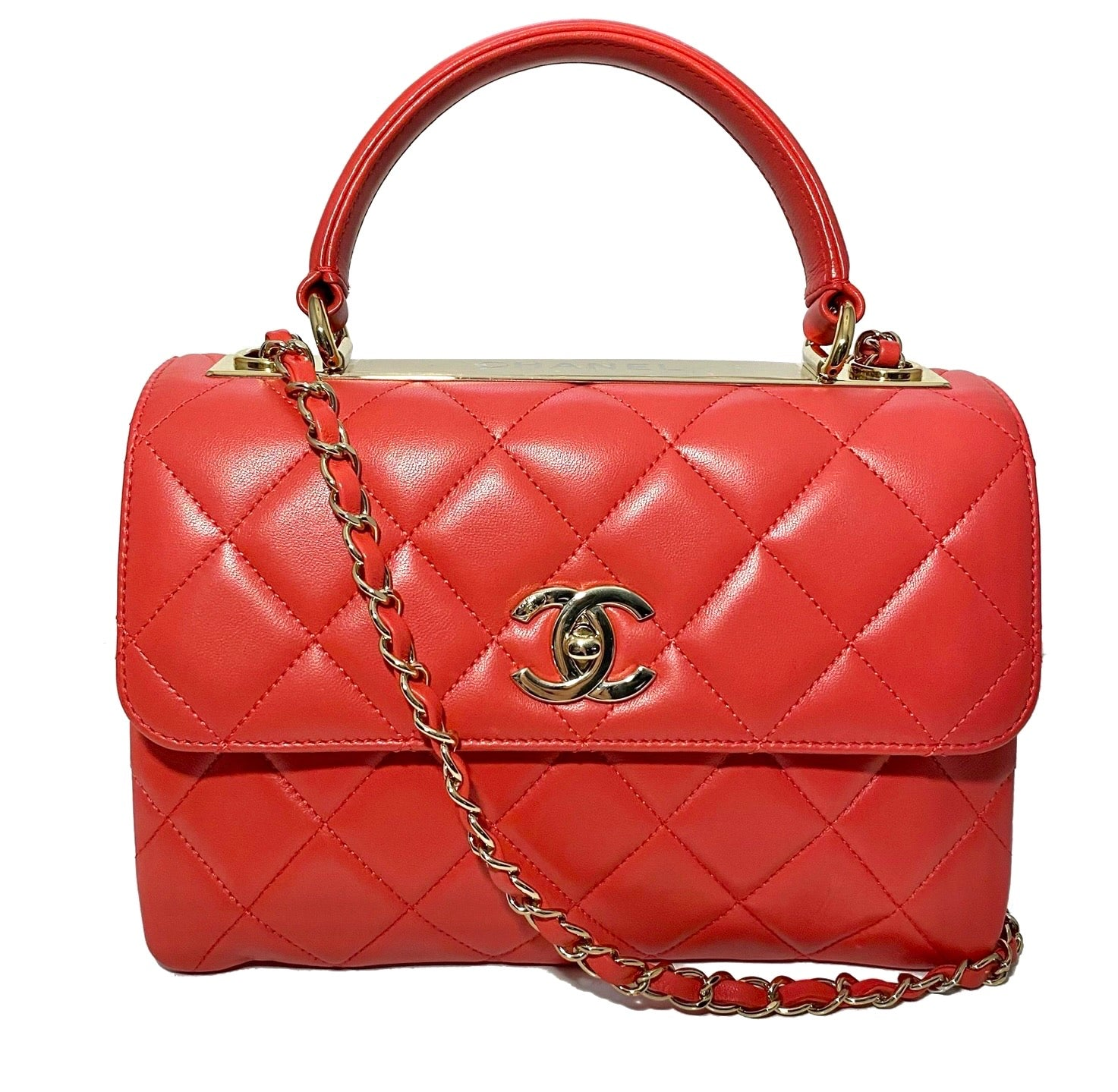 Lambskin Quilted Small Trendy Top Handle Flap Bag
