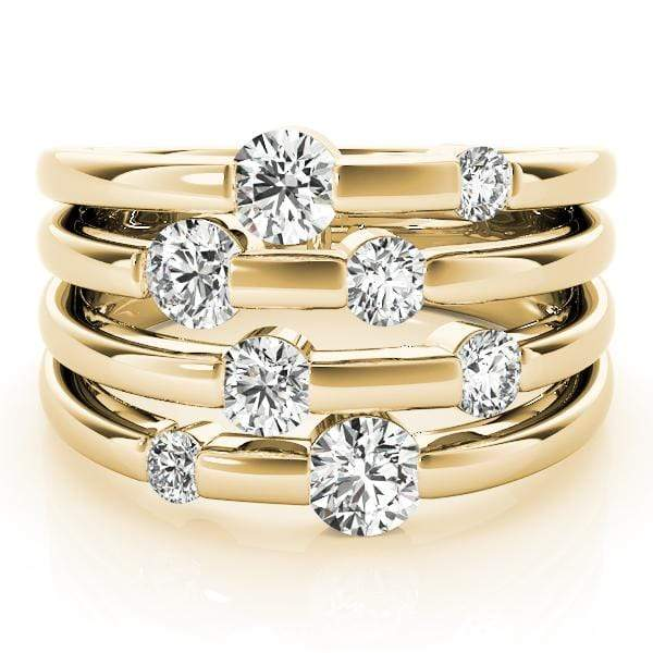 3 / Yellow Silver Diamond Storm Ring- 1/2 Cttw