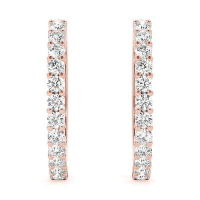Circle Diamond Hoop Earrings- 1 Cttw | The Carat Lab