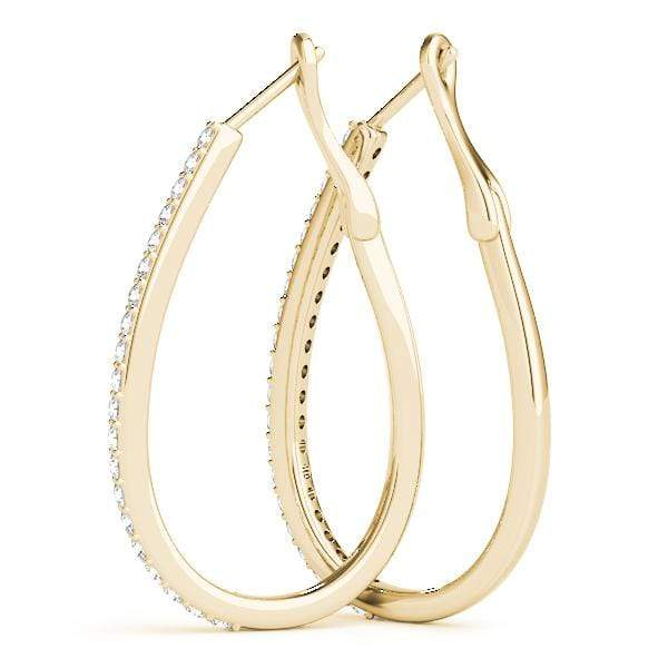 Oval Diamond Hoop Earrings- 1/2 Cttw