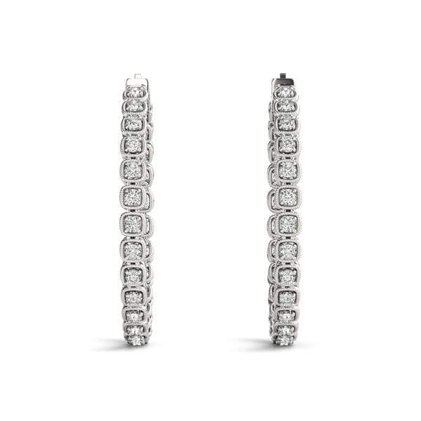 Dashing Diamond Hoop Earrings- 3/2 Cttw
