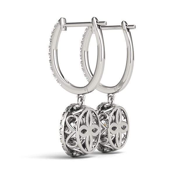 Double Halo Drop Diamond Earrings- 1 Cttw | The Carat Lab