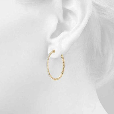 Frosted Globe Hoop Earring- 0.75 Cttw | The Carat Lab