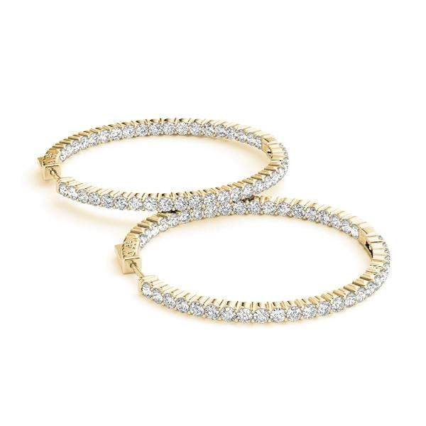 Innovative Diamond Hoop Earrings- 3 Cttw