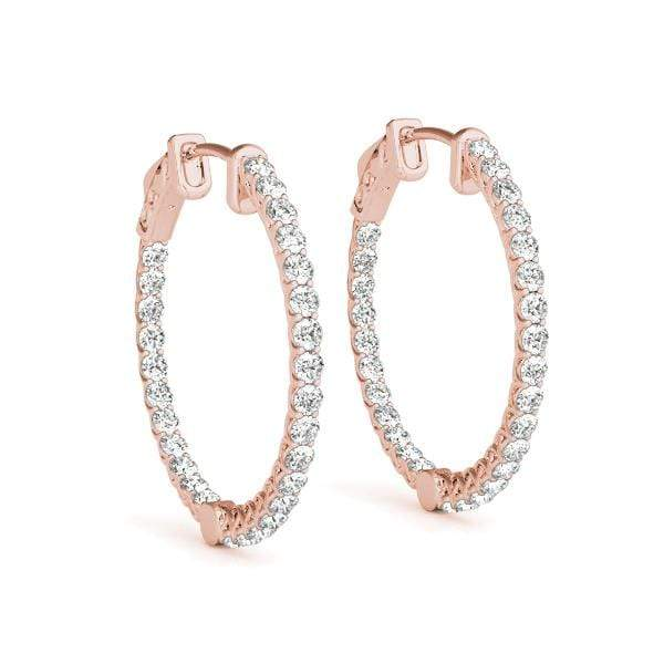 Rose Gold Embrace Diamond Hoop Earrings- 2 Cttw