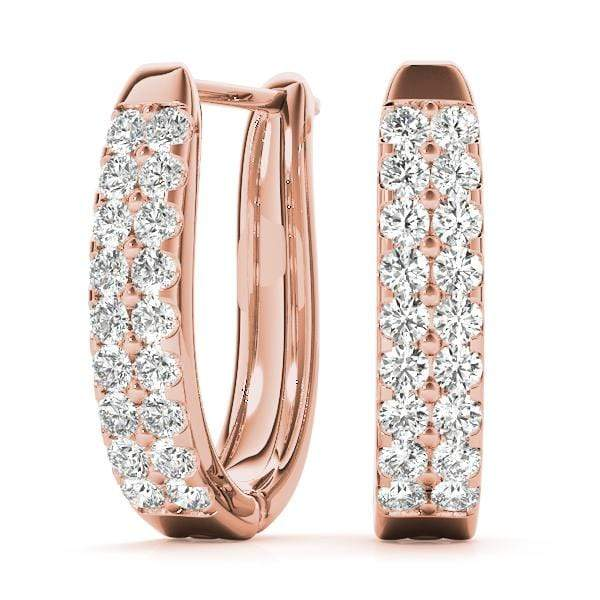 Double Strand Diamond Hoop Earrings- 0.70 Cttw | The Carat Lab