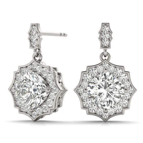 Cyber Monday Empire Diamond Halo Earrings- 1 Cttw | The Carat Lab