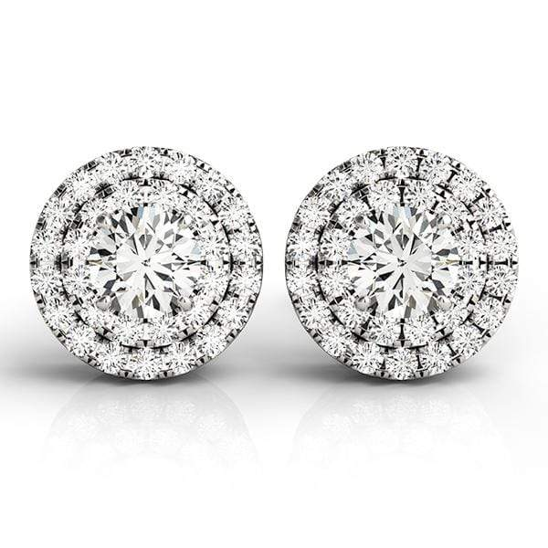 Silver Ethereal Diamond Halo Earrings- 1/8 Cttw