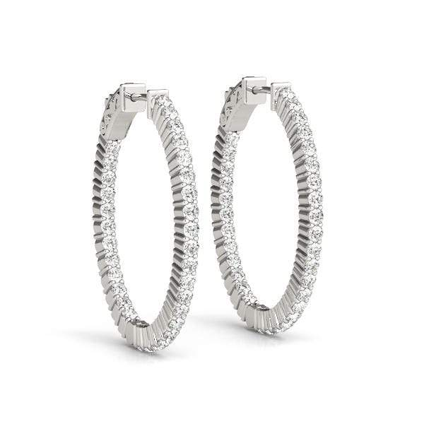 Vogue Diamond Hoop Earrings- 2 Cttw