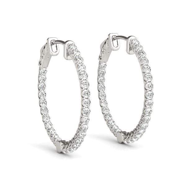 White Gold Embrace Diamond Hoop Earrings- 2 Cttw