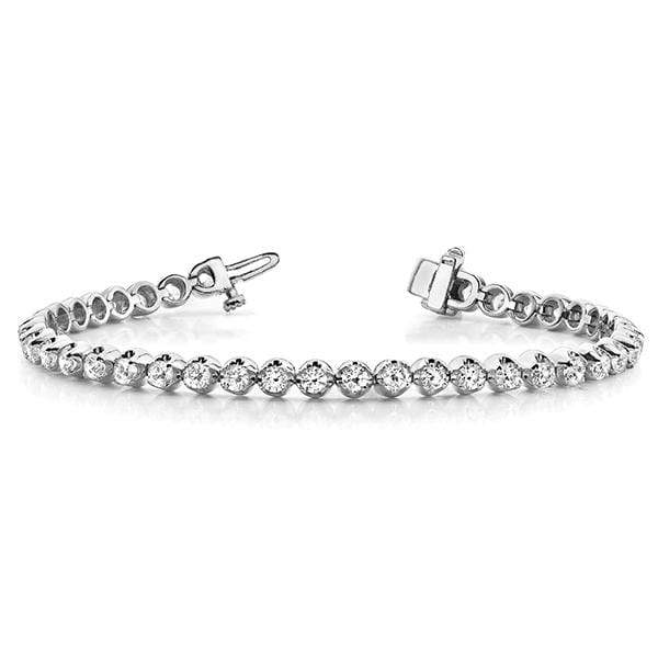 White Gold Goblet Diamond Bracelet- 3 Cttw