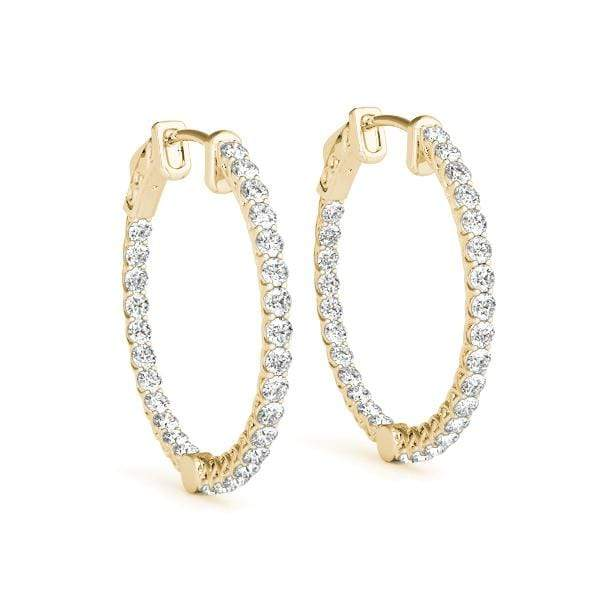 Yellow Gold Embrace Diamond Hoop Earrings- 2 Cttw