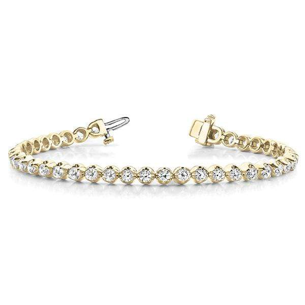 Yellow Gold Goblet Diamond Bracelet- 3 Cttw