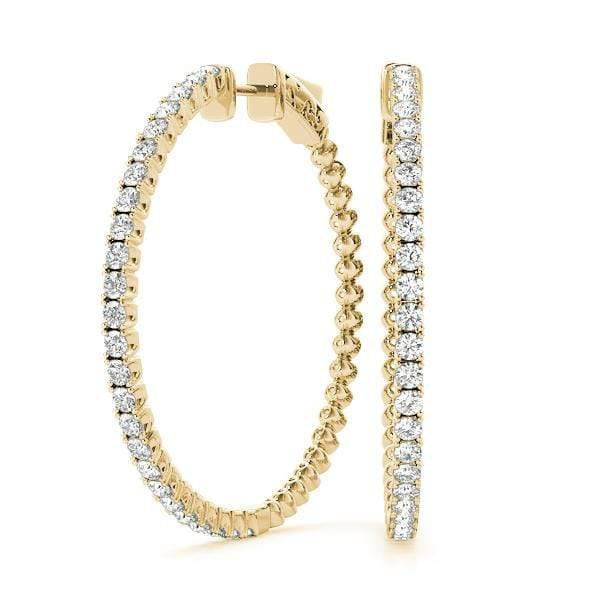 Yellow Gold Iced Hoop Earring- 4/3 Cttw