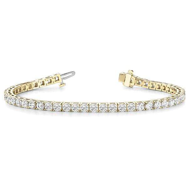 Yellow Gold Luxury Diamond Bracelet- 2 Cttw